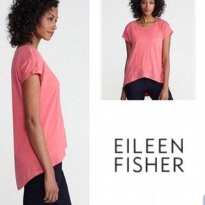 Eileen Fisher Coral Linen High Low Top